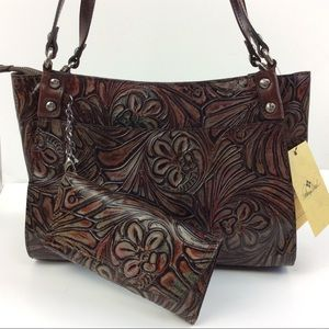 NEW Patricia Nash Tobacco Fields Leather Bag